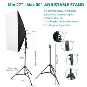 "Image 3 - ZUOCHEN 4x25W LED Continuous Lighting Kit 20""x28""/50x70cm Softbox Soft Box Photo Studio Set Light Bulbs Lamp Photography Softbox"