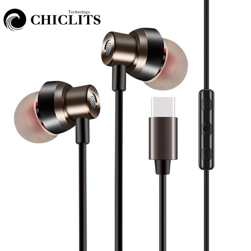 CHICLITS Type-C In-ear Earphones High Quality Super Bass Wired Music Earphone With Mic For Type C Andrews Phones airpads New