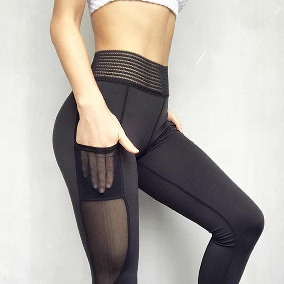 ff4edd6a1c0be6 ... Le Nakai White Lace Waistband Big Booty Yoga Pants For Women Mesh Side  Pocket Yoga Fitness ...