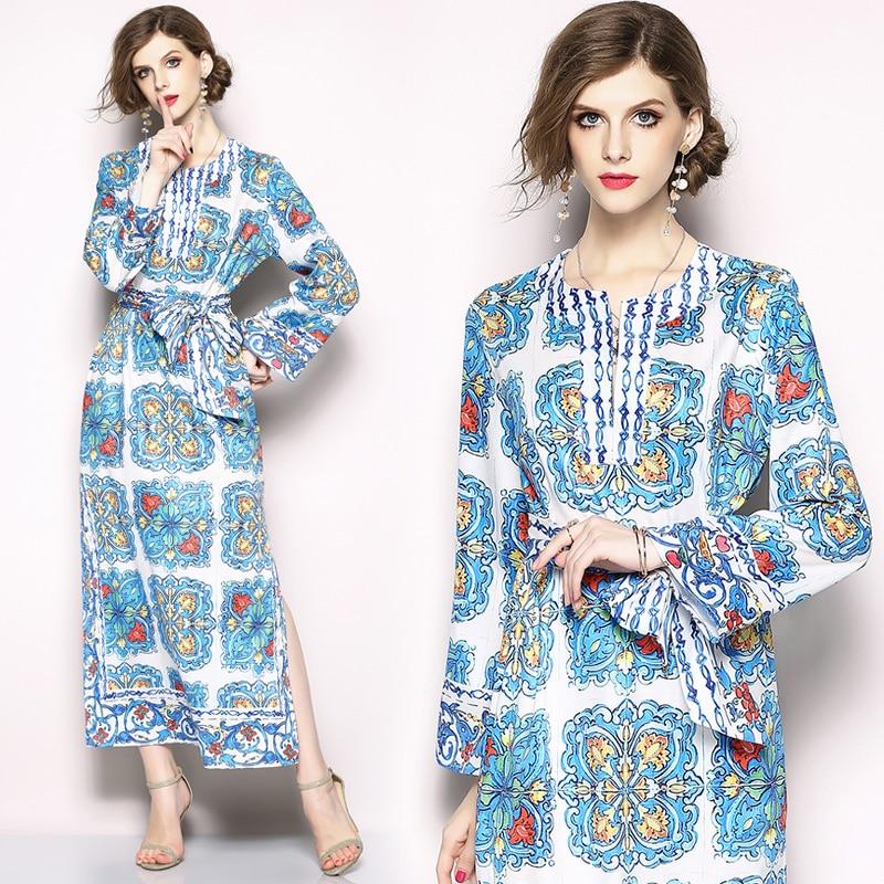 Haute qualité nouvelle mode belle piste Boho plage robe femmes à manches longues Noble perles décontracté Floral imprimer Maxi longue robe