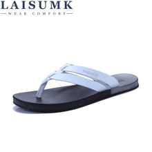LAISUMK New Summer Men Genuine Leather Flip Flops Fashion Soft And Comfortable Beach Sandals Slippers