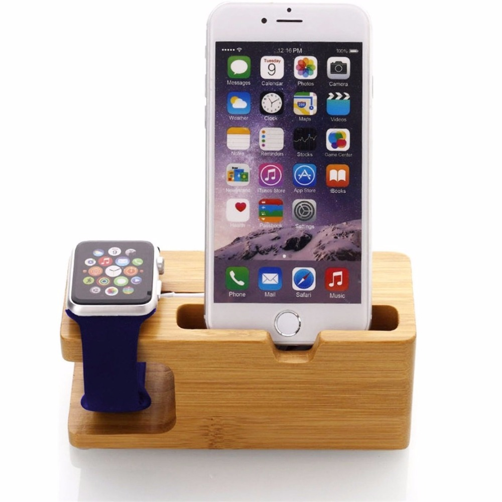 Galleria fotografica JERX Bamboo Phone Holder For IPhone 7 Plus Wood Smartphone Charge Dock Phone Stand For Apple Watch IPhone 7 6S 6 Galaxy Note 8