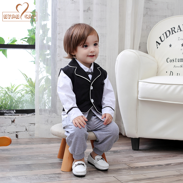 Nyan Cat Baby boys clothes gentlemen bow tie full sleeves white shirt+black vest+pants 3pcs event party birthday infant costume nyan cat baby boy clothes short sleeves gentleman bow tie vest romper hat 2pcs set outfit jumpsuit rompers party cotton costume