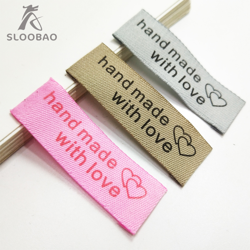 Free Shipping 100pcs/lot 5x1.5cm Handmade Tags Woven Printed Labels Clothes Garment Label DIY Tags Craft Sewing Accessories