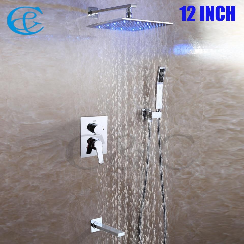 Square Chrome Copper Rain LED Shower Head Set Brass Spout Easy-installation Contemporary Bathroom Shower Faucet