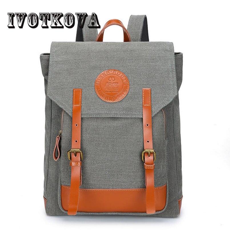 IVOTKOVA Man's Canvas Backpack Cotton Travel Schoolbag Male Backpack Men Large Capacity Rucksack Shoulder School Bag Mochila