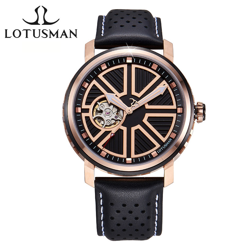 LotusmaN Luxury Men's Automatic Self-Wind Mechanical Watch 5ATM Waterproof Sapphire Stainless Steel Men Wrist watch relogio M512 deluxe ailuo men auto self wind mechanical analog pointer 5atm waterproof rhinestone business watch sapphire crystal wristwatch