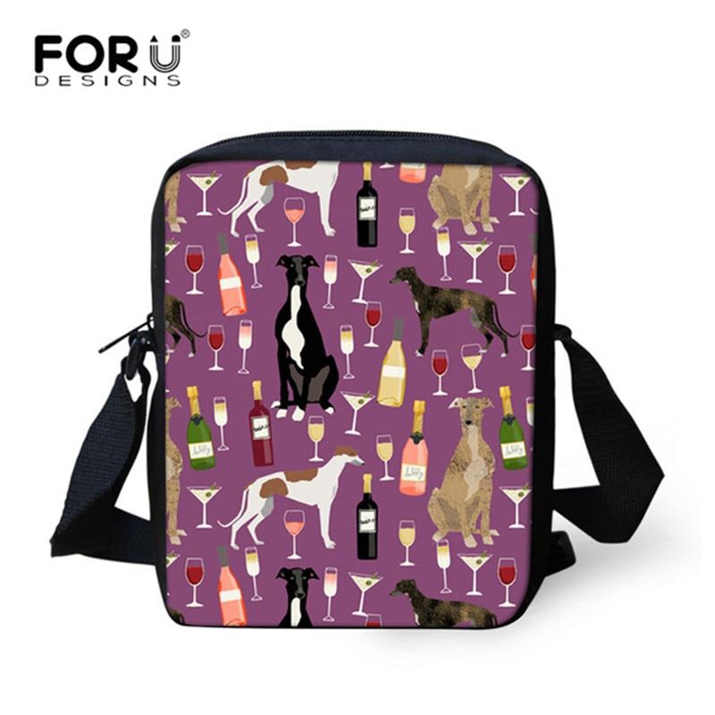 FORUDESIGNS Crossbody Bags Women Greyhounds Dog Wine Pattern Messenger Bag For Girls Small Flap Christmas Female Shoulder Bags