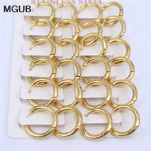 MGUB Classic Stainless steel fashion jewelry smooth Hoop earrings female models  earrings wholesale 6 12 pairs/sets LH548