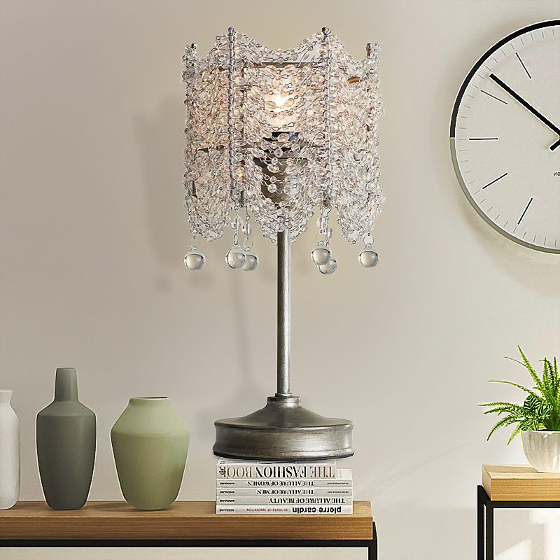 US $170.2 8% OFF|Modern American Vintage Crystal Iron Art Table Lamps  Living Room Bedroom Bedside Princess Room Mini Night Light Sample Board-in  LED ...