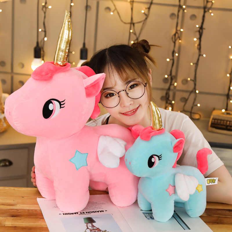 10/20CM yumuşak tek boynuzlu at pelüş oyuncak bebek çocuklar yatıştırmak uyku yastığı bebek hayvan dolması peluş oyuncak doğum günü hediyeleri kızlar için çocuk