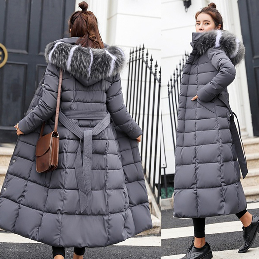 New Basic Down Winter Jacket Women Hooded Fur Collar Black Gray Down Coat Warm Slim Long-padded Cotton Female Outwear куртка жен