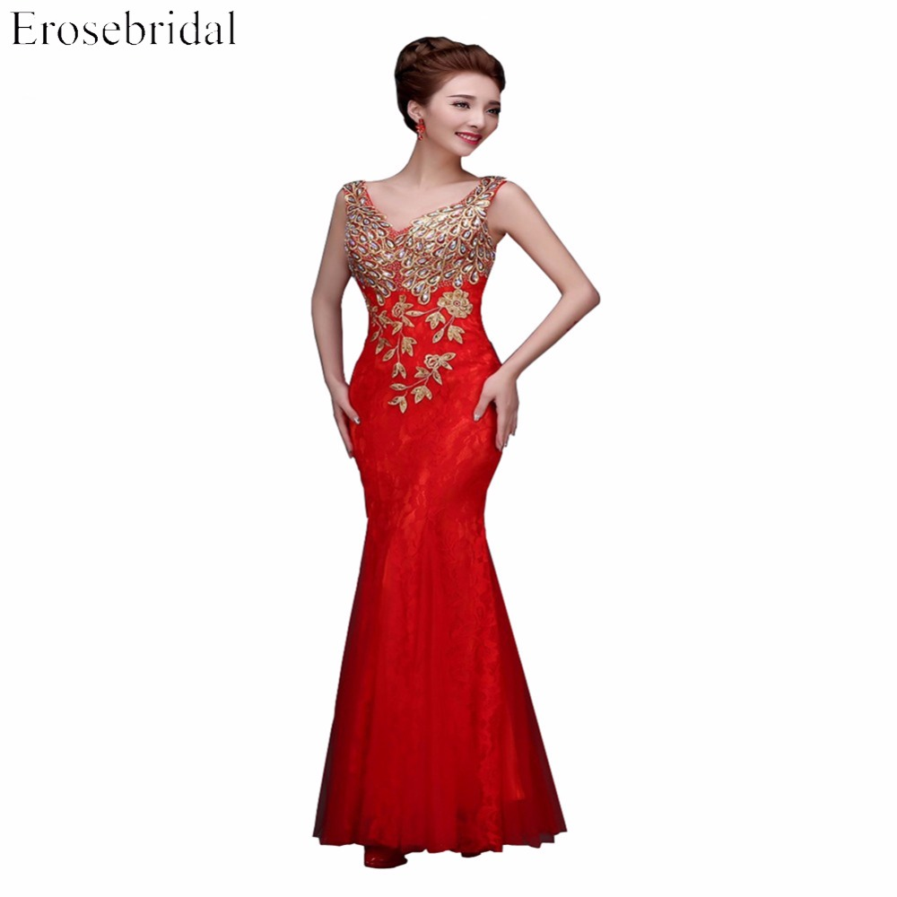 Elegant Red Lace Prom Dress