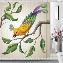 3D Creative Green Plants and Bird Shower Curtains Bathroom Curtain Waterproof Thickened Bath Customizable