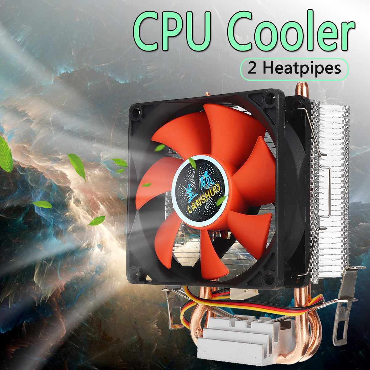 8cm Mini CPU Cooler 2 Heatpipes PC CPU Cooler Heatsink Computer Cooling Fan For LGA 775/1155/1156 AMD AM2 AMD3 Free Shipping