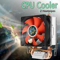 8cm Mini CPU enfriador 2 tubos de calor CPU enfriador disipador de calor ventilador de refrigeración de ordenador para LGA 775/1155/1156 AMD AM2 AMD3 envío gratis