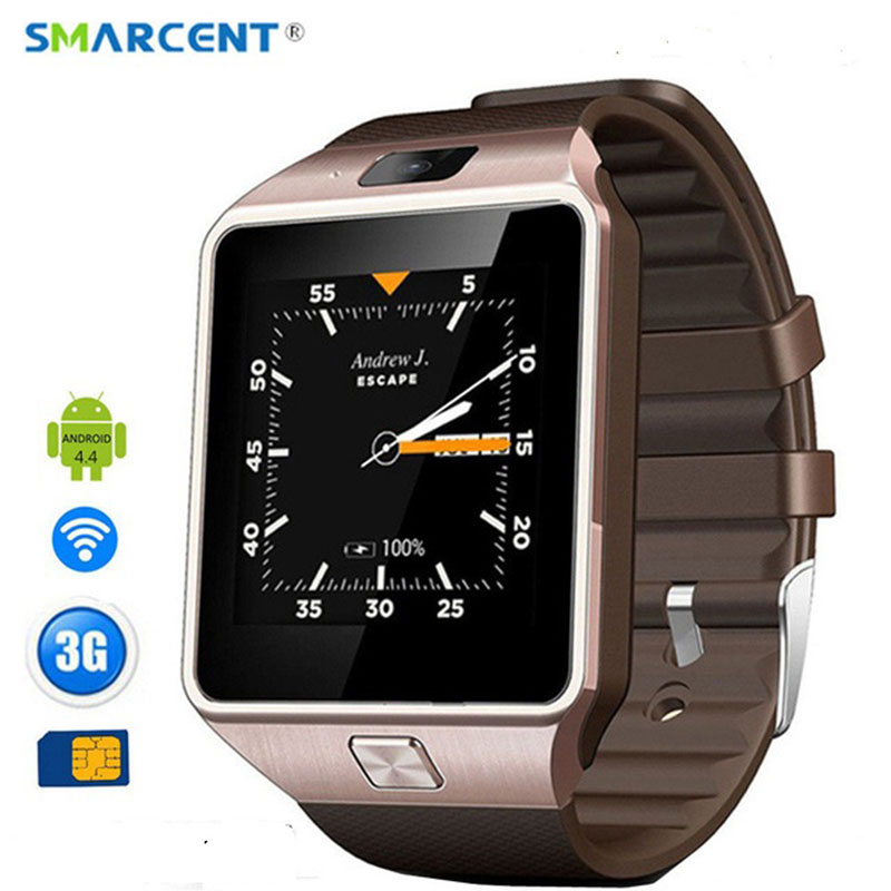 SMARCENT 3G WIFI QW09 Android montre intelligente 512 mo/4 GB Bluetooth 4.0 réel-podomètre appel de carte SIM montre intelligente Anti-perte DZ09 GT08