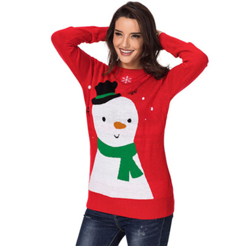 Coréenne Kawaii The Taille De Chaud Homme Qualité Crop Picture Motif Jumper the Plus Oversize La Neige Chandail Top Picture As Same Pull Noël Super 4rq4wpF