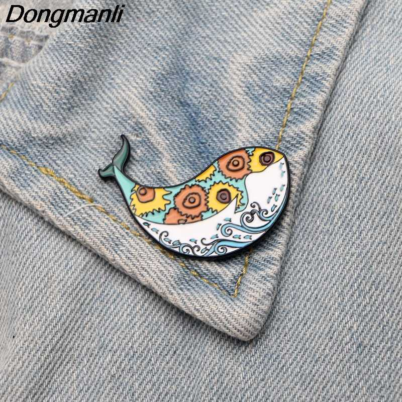 DMLSKY Van Gogh Sunflower Whale Pin Metal Badge Funny Shirt Collar Pins Icon on The Backpack Pin for Clothing M2591