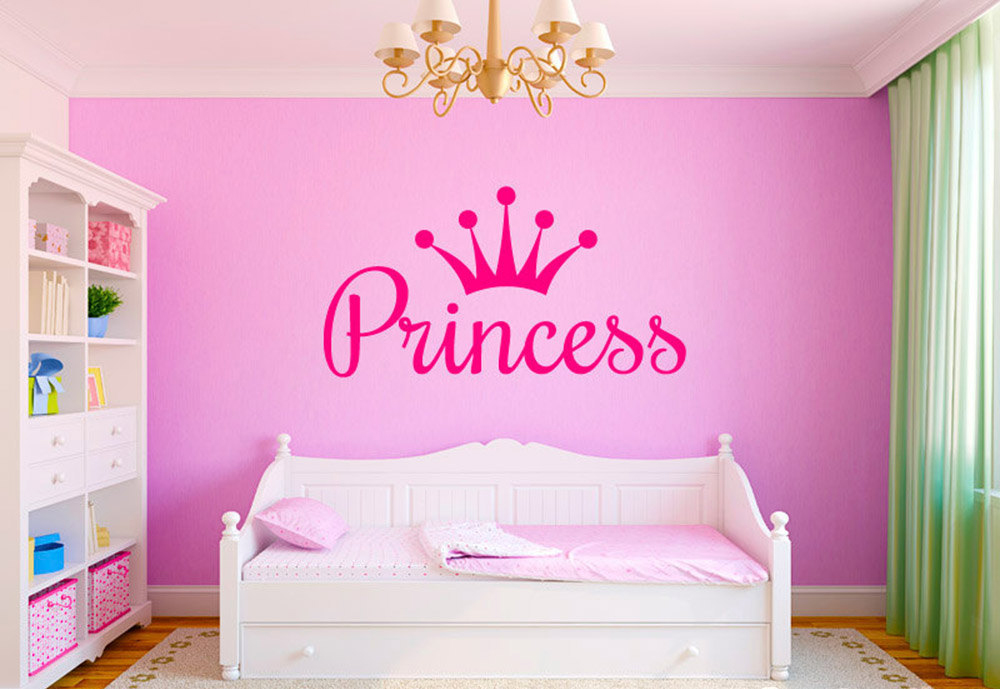 Custom princess queen crown diy wall sticker art decals for Personalized kids room decor