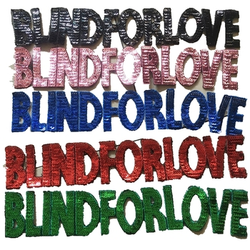 """1 pieza, tiras de lentejuelas """"BLIND FOR LOVE"""" """"HOLLYWOOD"""", parche bordado apliques, parches con letras adhesivas, parches para prendas"""