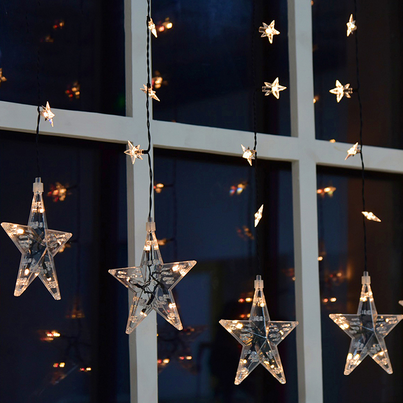 Waterproof 2M 120Led Star Curtain Lights Christmas Star Light Decoration Garland On the Window For Wedding Party Holiday window sailboat sea waterproof bath curtain