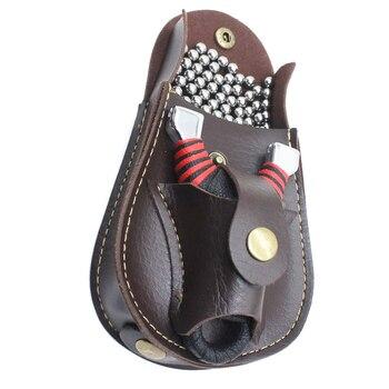 Professional steel ball Slingshot package Outdoor sports leather Slingshot bag back through the belt for hunting 5