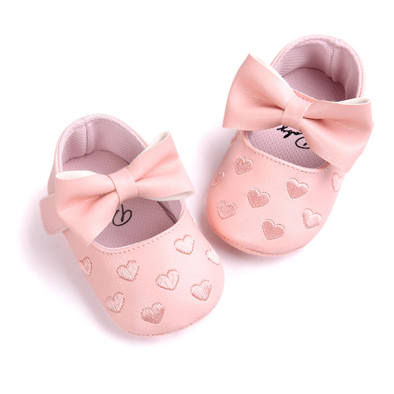 PU Leather Newborn Baby Girls Princess Heart-Shaped Mary Jane Big Bow Prewalkers Soft Bottom Shoes Crib Babe Ballet Dress Shoes