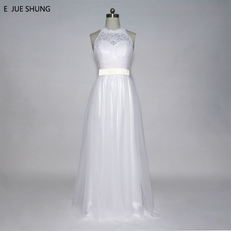 E JUE SHUNG Baltais mežģīņu pludmales kāzu kleitas Sash-line Halter Backless Boho līgavas kleita Kāzu kleitas robe de soiree