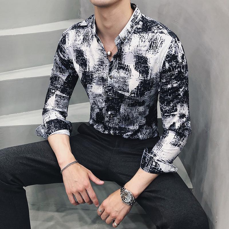 Social Shirt Menswear Hawaiian Shirt for Man Korean style Slim Long sleeve Casual Dress Blouse Men white in Casual Shirts from Men 39 s Clothing