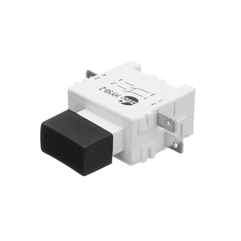 1 Uds. KEDU HY58-2 16/19A 250/127V 4 herramienta eléctrica PinsElectric pulsador cerradura a prueba de polvo apagado Botón de gatillo con freno