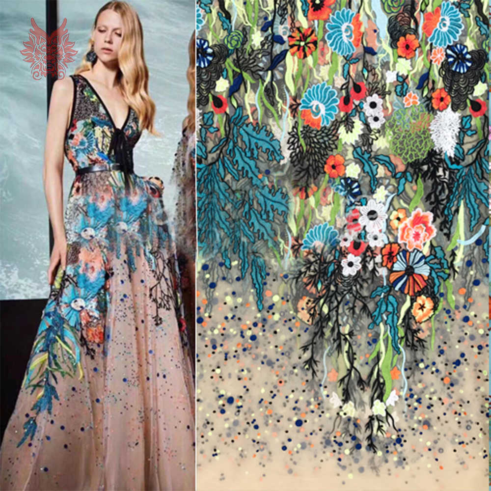 Multi color elegant floral embroidery apricot mesh lace fabric apparel for wedding party dress cloth tissu free shipping SP5556