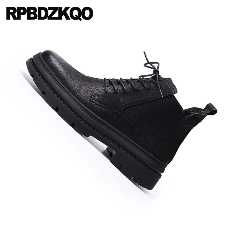 Ejército Zapatos Botines Negro De Cálido Genuino Chelsea Corto Fur Combate Militar Cuero Invierno Pista Botas Up Faux Lace qSw7xZZ