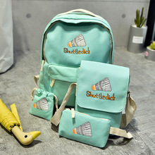 4 Pieces/Set Canvas Backpack Women Korean Style Youth Knapsack Cartoon Printing Backpacks for Teenage Girls Schoolbag Mochila