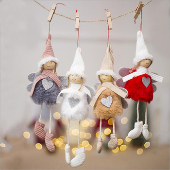 New Cute Angel Plush Doll Christmas Decoration Pendant Creative Christmas Tree Ornaments Christmas Decoration For Home Navidad new summer women blouse loose o neck chiffon shirt female short sleeve blouse plus size 6xl shirts womens tops and blouses top
