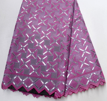 Latest 100% High Quality Lilac Fushia French net lace African wedding fabrics 5 Yards fushia double net lace fabric