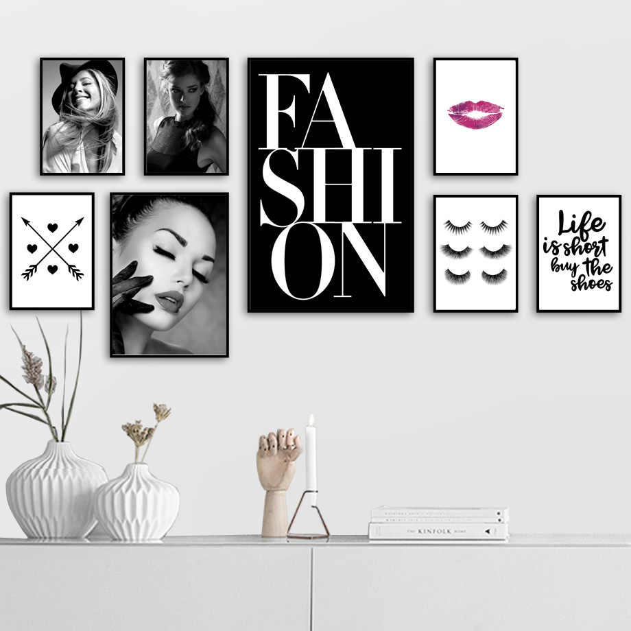 Modern Fashion Girl Eyelash Love Makeup Wall Art Canvas Painting Nordic Posters And Prints Wall Pictures For Living Room Decor