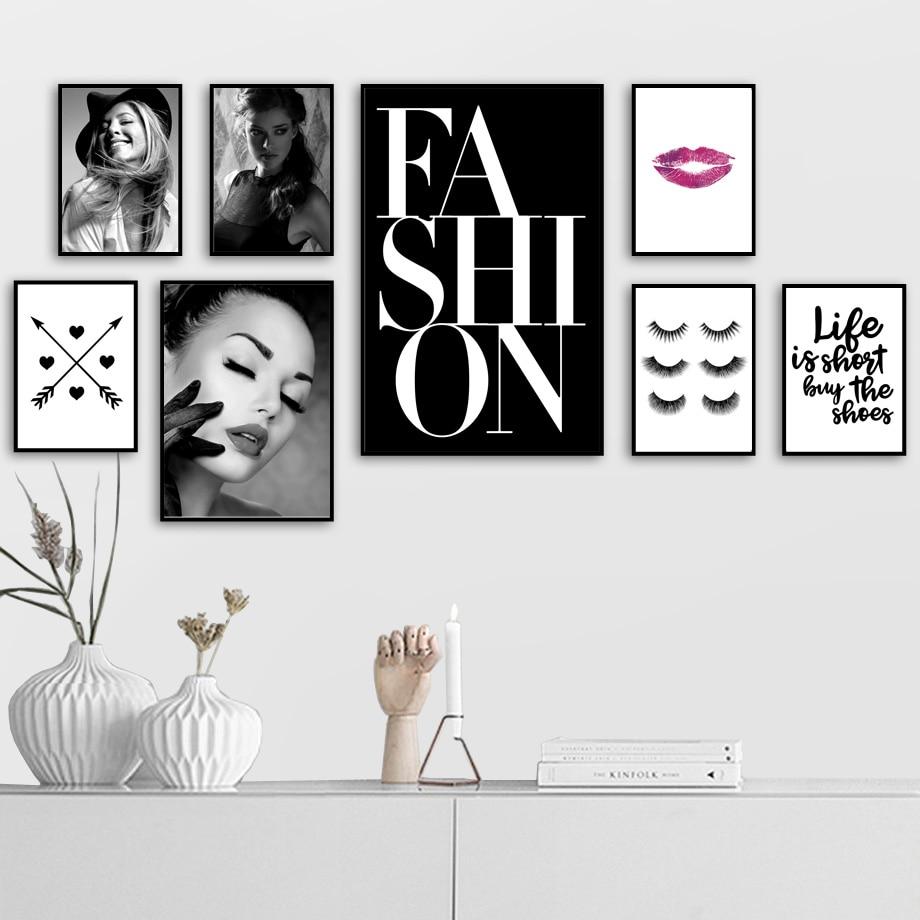 COLORFULBOY Modern Girl Love Fashion Makeup Wall Art Print Canvas - Dekor za dom