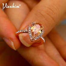 Rose Gold Color Cubic Zirconia Ring Water Drop Shape Art Engagement Wedding Rings Birthstone Promise Rings For Women Jewelry(China)