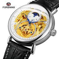 Forsining Black Silver White Moonphase Design Blue Hands Mens Mechanical Watch Genuine Leather Strap