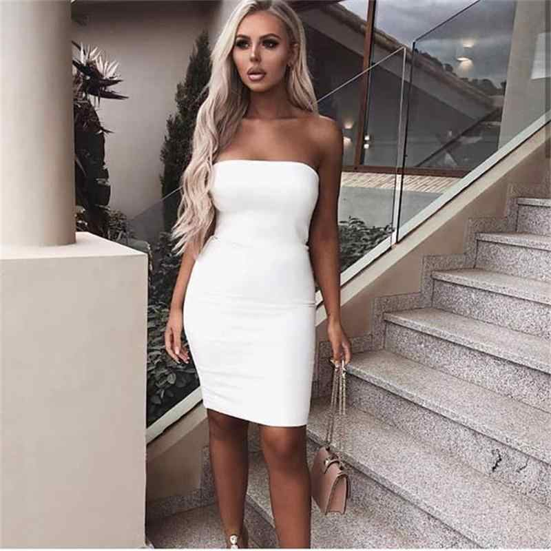 6380e2734c ... Elegant Simple Style Women Sexy Sleeveless Solid Boob Tube Top Dress  Evening Party Stretch Pencil Strapless ...