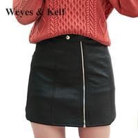 Weyes Kelf Spring Mini Pu Leather Skirt Women 2018 Winter New Fashion Zipper Stitching Skirts Mini