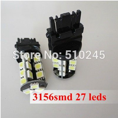 50x nice color t25 12v 3156 27 SMD Red CANBUS OBC No Error Signal Car 27 LED Light Bulb free shipping