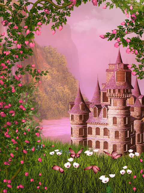 LIFE MAGIC BOX Vinyl Fairy Tale Castle Cool Backgrounds Background For Photos Party Backdrops Pink Wallpaper