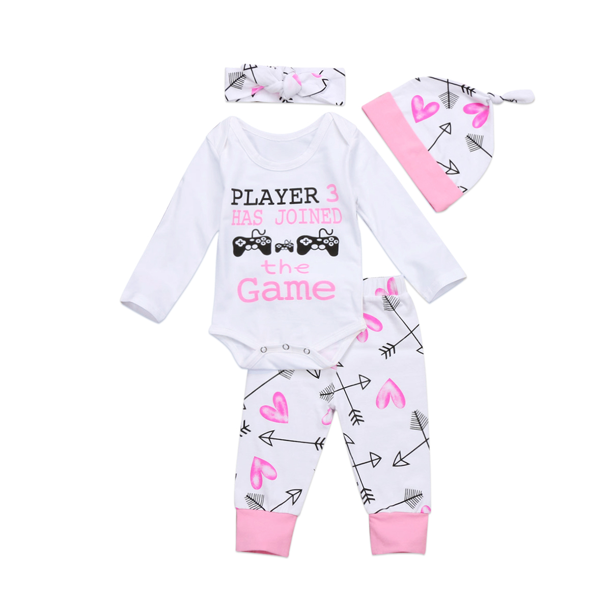 Pudcoco 0-24M Newborn Kids Infant Baby Girls Clothes Game Romper Jumpsuit + Arrow Pants Hat Outfit Headwear 4PCS Set