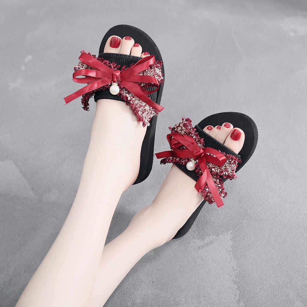 נשים קומפי פלטפורמת סנדל נעלי קשת קיץ סנדלי נעל מקורה חיצוני מזדמן נעל החלקה פרחי טריזי חוף נעליים