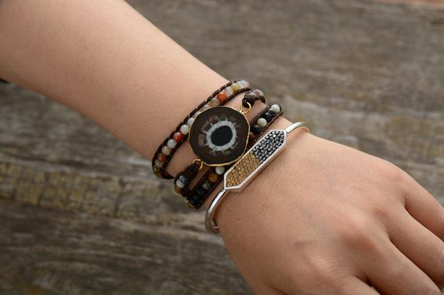 Natural Stones Sun Japser 3 Layer Leather Rope Bracelet