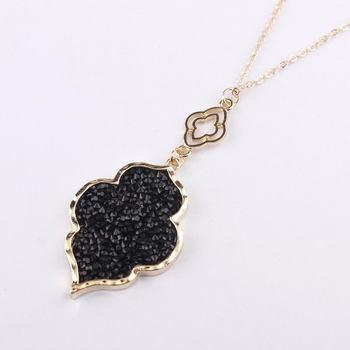 Pave Crystals Morocco Magnolia Flower Pendant Necklace for Women Moroccan Pendant Necklace Small Business Manufacturer Wholesale 1
