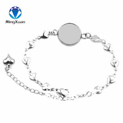 MINGXUAN 5 pièces En Acier Inoxydable Coeur Cabochon Bracelet Paramètres Fit 12/14/16/18/20mm Camée Bracelets Lunette Blanc bijoux à bricoler soi-même Base
