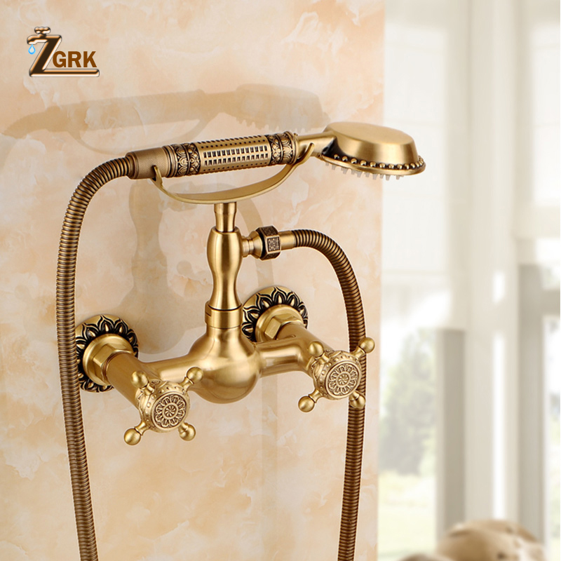 ZGRK Antique Brass Shower Faucet Single Handle In wall Bathroom & outdoor Shower Mixer System HS9706S